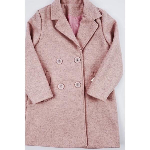 Różowy płaszcz prochowiec z kołnierzem 1