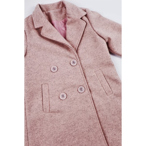 Różowy płaszcz prochowiec z kołnierzem 2
