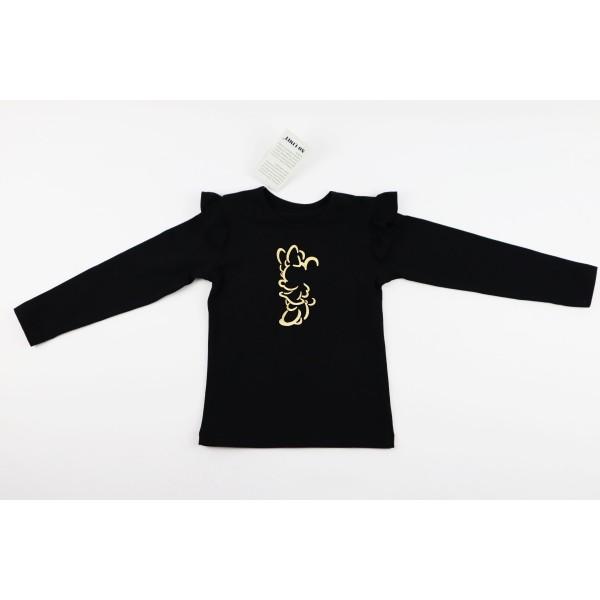 Czarny longsleeve dla dziewczynki ze skrzydełkami i złotą grafiką Miki