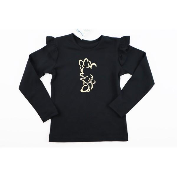 Czarny longsleeve dla dziewczynki ze skrzydełkami i złotą grafiką Miki 1