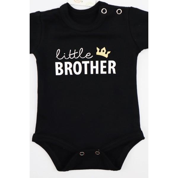Czarne body dla chłopca z napisem Little brother
