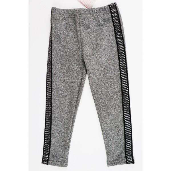 Szare legginsy dla dziewczynki z grubszym czarno-srebrnym lampasem