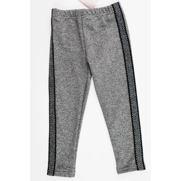 Szare legginsy dla dziewczynki z grubszym czarno-srebrnym lampasem 1