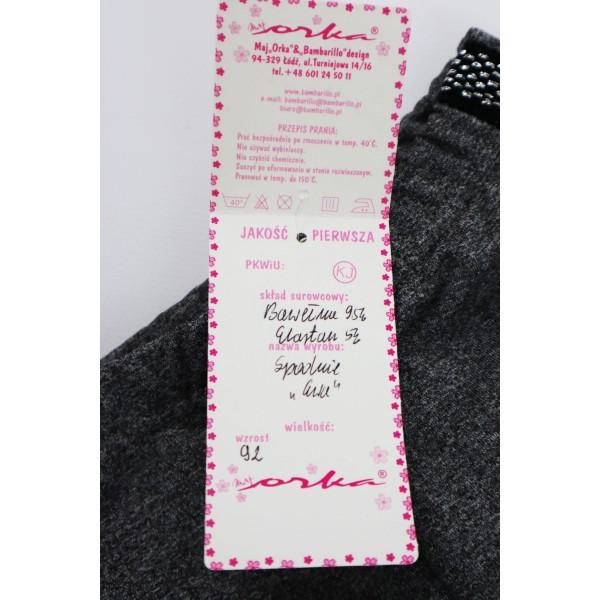 Szare legginsy dla dziewczynki z grubszym czarno-srebrnym lampasem 2
