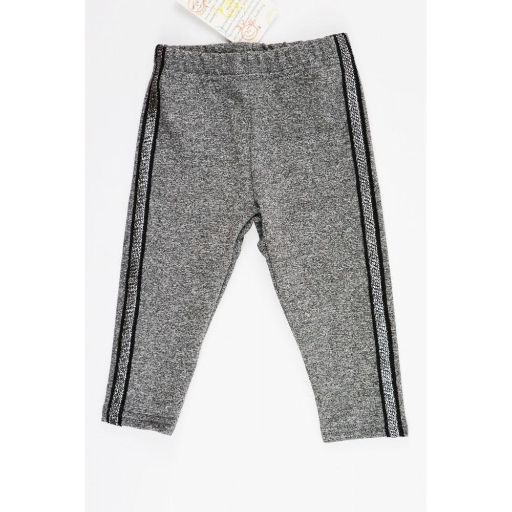 Szare legginsy dla dziewczynki z czarno-srebrnym wąskim lampasem