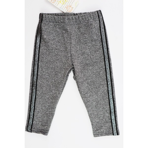 Szare legginsy dla dziewczynki z czarno-srebrnym wąskim lampasem 1