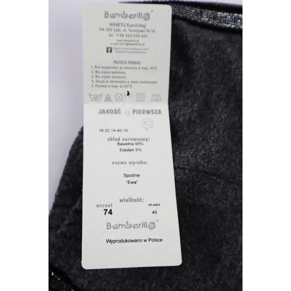 Szare legginsy dla dziewczynki z czarno-srebrnym wąskim lampasem 2