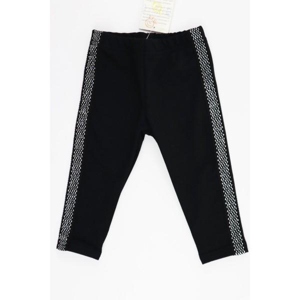 Czarne basicowe legginsy dla dziewczynki ozdobione srebrnymi lampasami