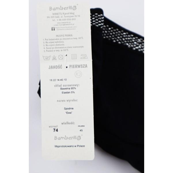 Czarne basicowe legginsy dla dziewczynki ozdobione srebrnymi lampasami 1