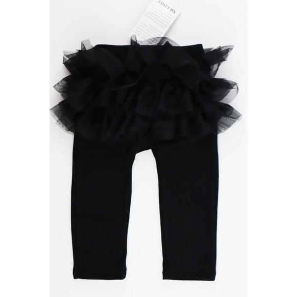 Czarne legginsy dla dziewczynki z falbankami z przodu i tyłu