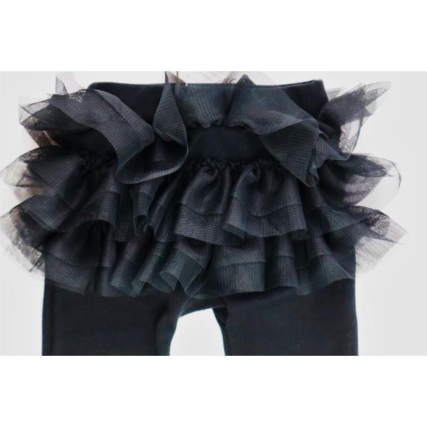 Czarne legginsy dla dziewczynki z falbankami z przodu i tyłu 1