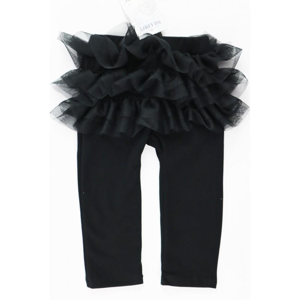 Czarne legginsy dla dziewczynki z falbankami z przodu i tyłu 2