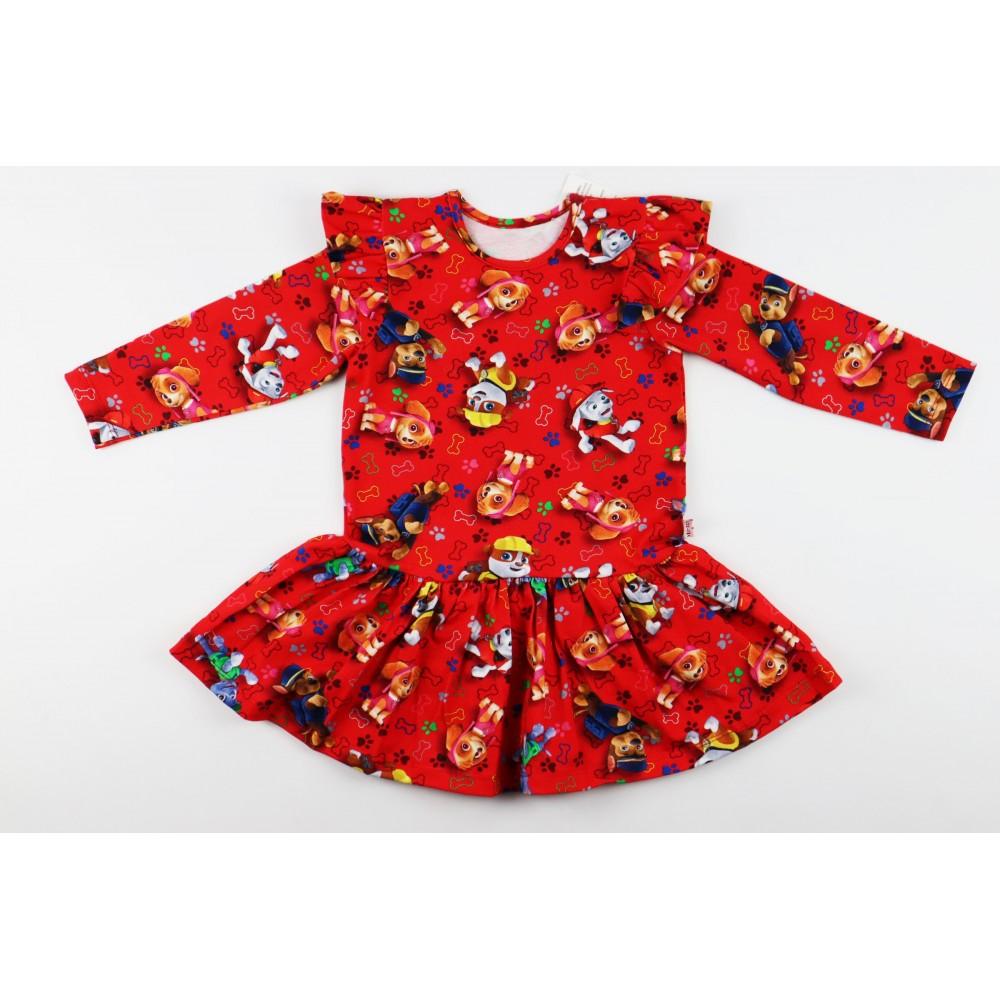 Czerwona sukieneczka rozkloszowana ze skrzydełkami z grafikami Psi Patrol