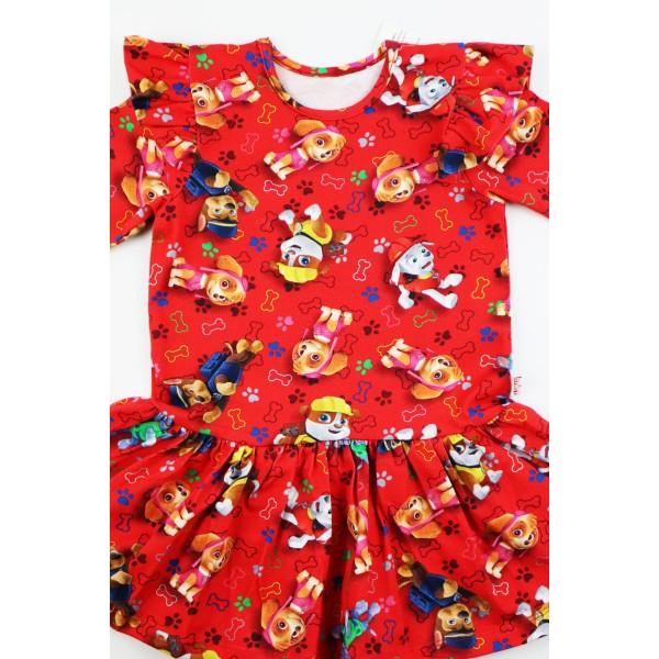 Czerwona sukieneczka rozkloszowana ze skrzydełkami z grafikami Psi Patrol 1