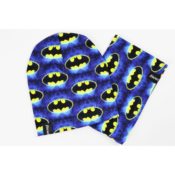 Komplet dla chłopca- czapka i komin z motywem Batmana 1