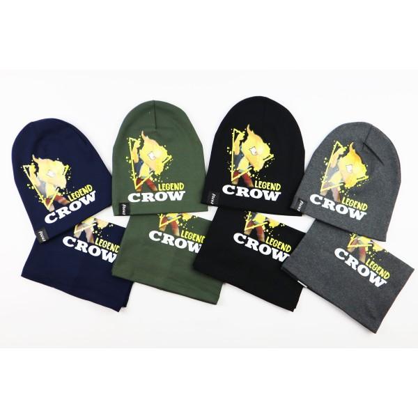 Komplet dla chłopca- czapka i komin Legend Crow