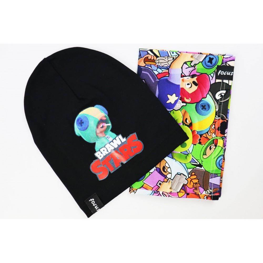 Komplet dla chłopca- czarna czapka i kolorowy komin Brawl Stars