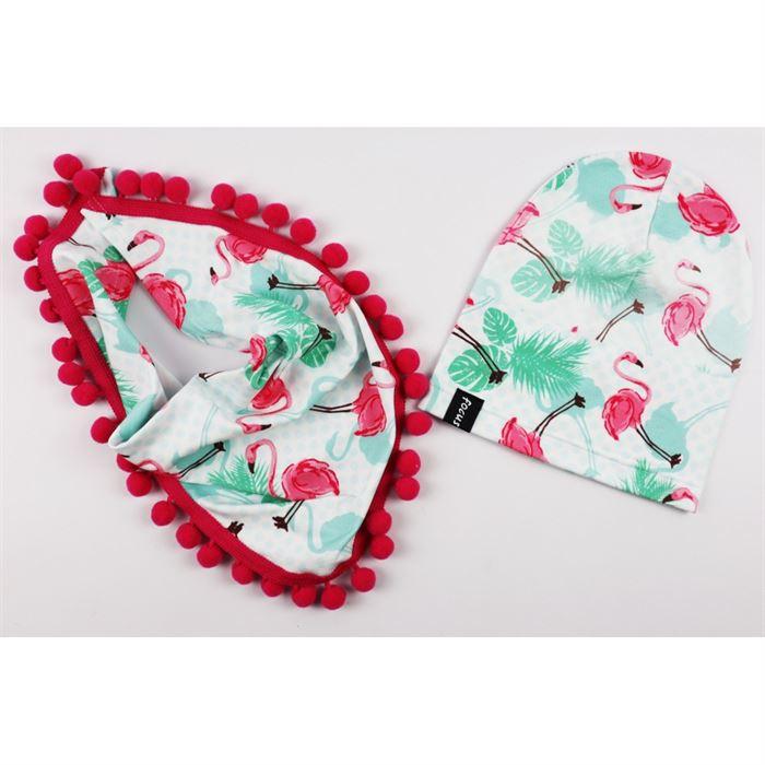 Komplet dla dziewczynki-czapka i szalik z pomponami