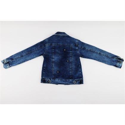 Kurtka jeansowa dla dziewczynki z aplikacjami kwiatuszków 3