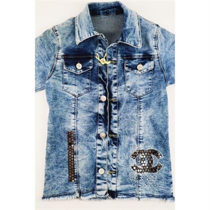 Kurtka jeansowa dla dziewczynki z dużą aplikacją z tyłu 1