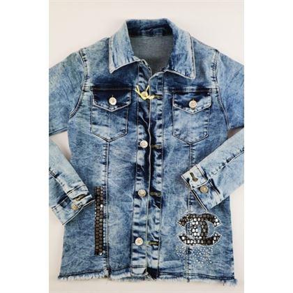 Kurtka jeansowa dla dziewczynki z dużą aplikacją z tyłu 3