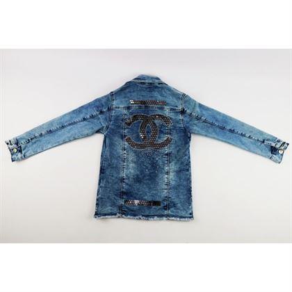 Kurtka jeansowa dla dziewczynki z dużą aplikacją z tyłu 5