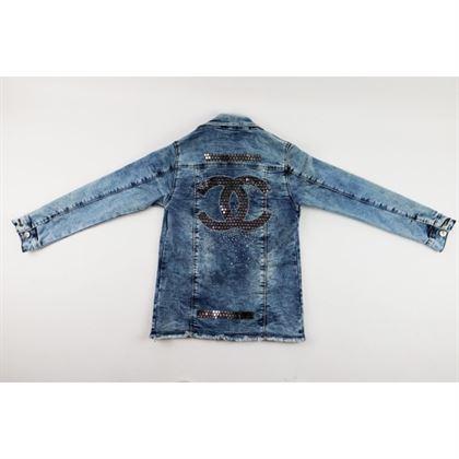 Kurtka jeansowa dla dziewczynki z dużą aplikacją z tyłu 6