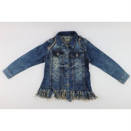 Kurtka jeansowa dla dziewczynki z wystrzępionym dołem i dżetami z przodu 1