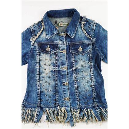 Kurtka jeansowa dla dziewczynki z wystrzępionym dołem i dżetami z przodu 2