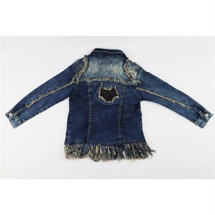 Kurtka jeansowa dla dziewczynki z wystrzępionym dołem i dżetami z przodu 3