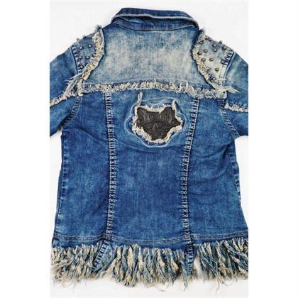 Kurtka jeansowa dla dziewczynki z wystrzępionym dołem i dżetami z przodu 4