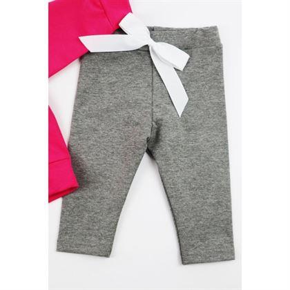 Dres dla dziewczynki Gamex- fuksjowa bluza i szare spodnie z kokardką 1