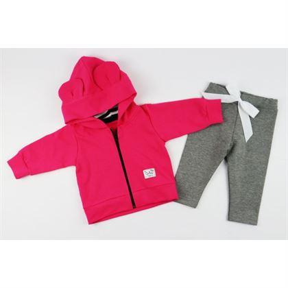 Dres dla dziewczynki Gamex- fuksjowa bluza i szare spodnie z kokardką 2