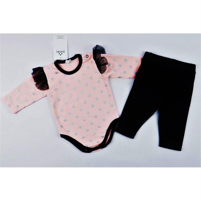 Komplet dla dziewczynki Gamex- body łososiowe w grochy i czarne legginsy z falbankami