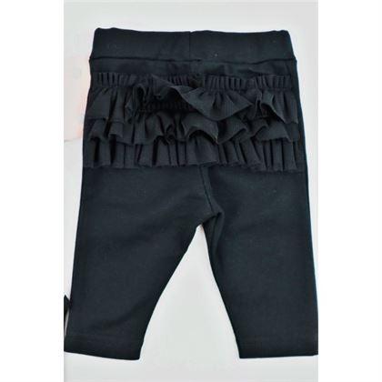 Komplet dla dziewczynki Gamex- body łososiowe w grochy i czarne legginsy z falbankami 1