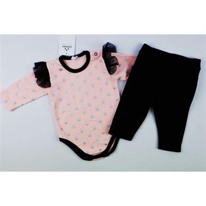Komplet dla dziewczynki Gamex- body łososiowe w grochy i czarne legginsy z falbankami 3