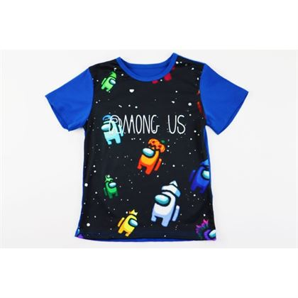 Szafirowy t-shirt unisex z grafikami na przodzie Among Us