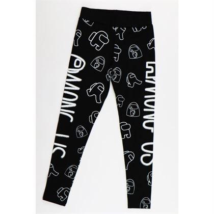 Czarne legginsy dla dziewczynki z białymi grafikami i napisem Among Us
