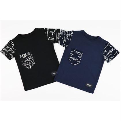 T-shirt dla chłopca z wzorzystymi rękawkami i kieszonką
