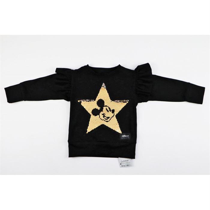 Czarna bluza dla dziewczynki ze złotą gwiazdą i grafiką Miki