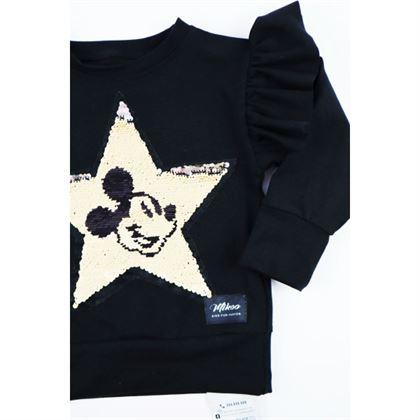 Czarna bluza dla dziewczynki ze złotą gwiazdą i grafiką Miki 1