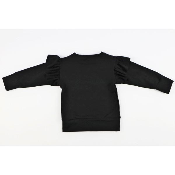 Czarna bluza dla dziewczynki ze złotą gwiazdą i grafiką Miki 3