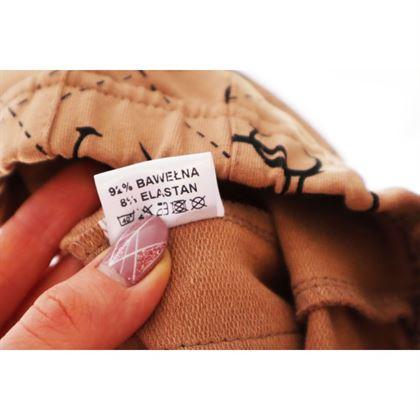 Legginsy dla dziewczynki z kieszonką w kolorze cappucino z grafikami 2