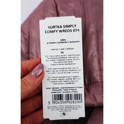 Wrzosowa pikowana kurteczka z kapturem 2