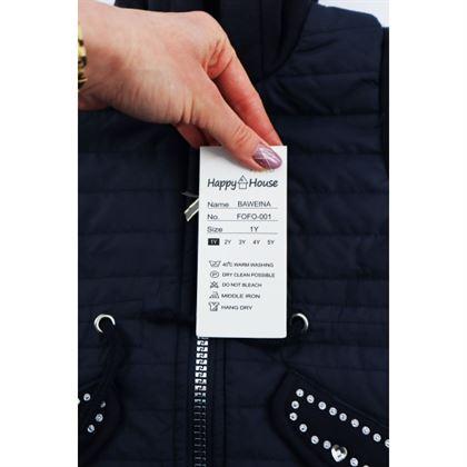 Granatowa kurtka dla dziewczynki ze srebrnymi dżetami i kapturem 3