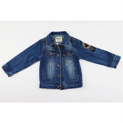 Kurtka jeansowa niebieska z naszywkami na rękawie i dużą z tyłu