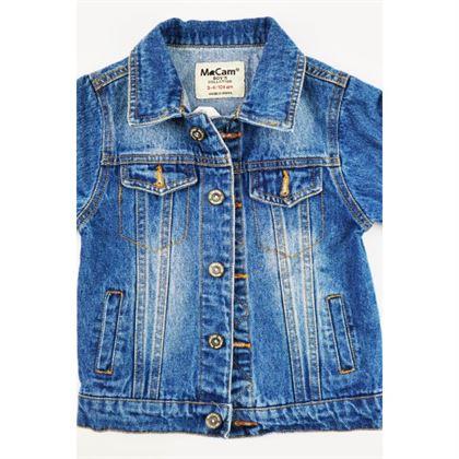 Kurtka jeansowa niebieska z naszywkami na rękawie i dużą z tyłu 1