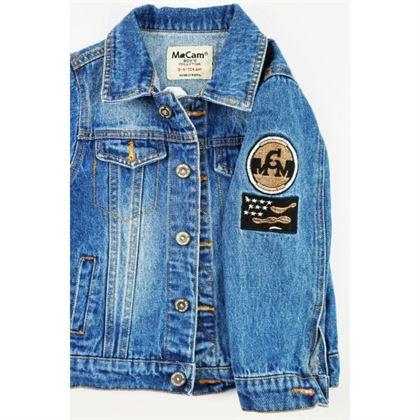 Kurtka jeansowa niebieska z naszywkami na rękawie i dużą z tyłu 2