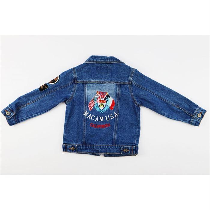 Kurtka jeansowa niebieska z naszywkami na rękawie i dużą z tyłu 3