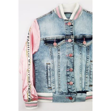 Kurtka jeansowa dla dziewczynki z satynowymi różowymi rękawami 1